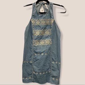 Free People embroidered sleeveless overall dress